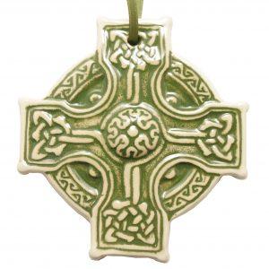 Hanging Celtic Cross Green