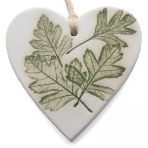 Pressed Leaf Hanging Heart - green