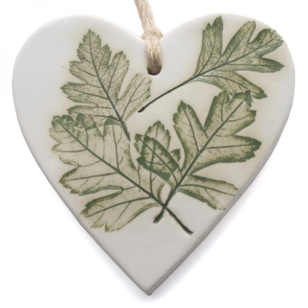Pressed Leaf Hanging Heart - green