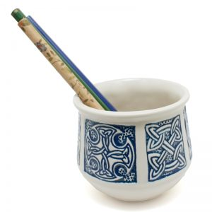 Pencil Holder Celtic Round Blue