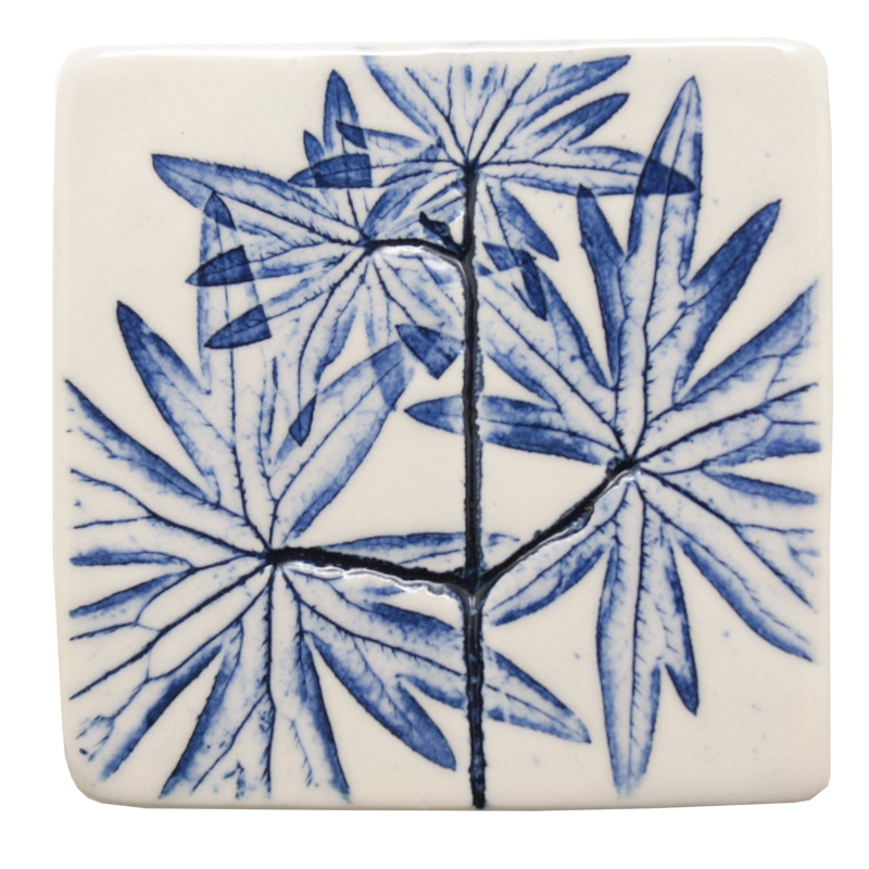 Pressed Leaf Fridge Magnet Blue