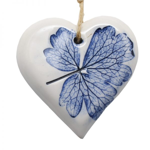 Pressed Leaf Small Heart Blue