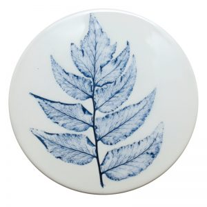 Pressed leaf coaster blue-1