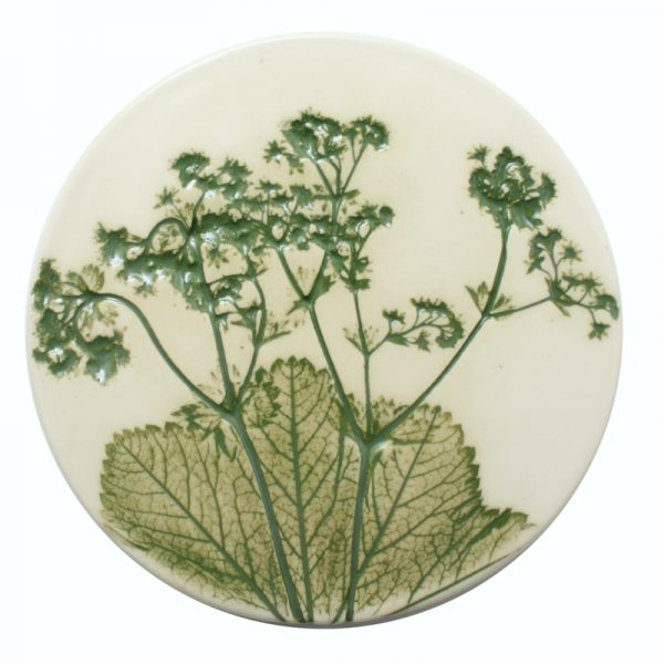 Pressed leaf coaster green