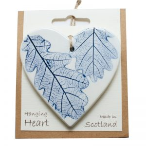 Pressed leaf hanging heart blue-1