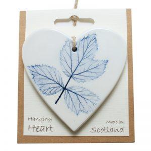 Pressed leaf hanging heart blue-2
