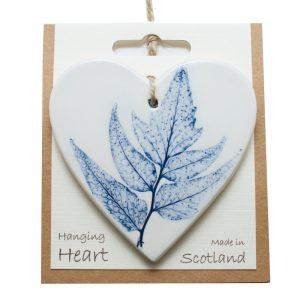 Pressed leaf hanging heart blue-3