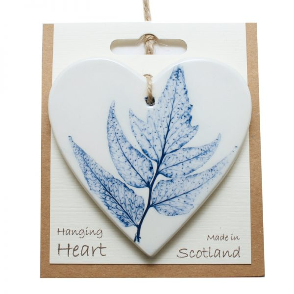 Pressed leaf hanging heart blue-3