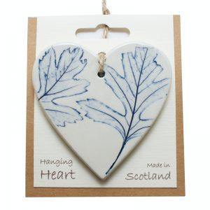 Pressed leaf hanging heart blue-4