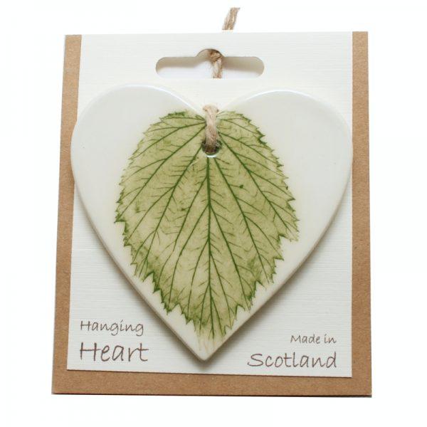 Pressed leaf hanging heart green-1