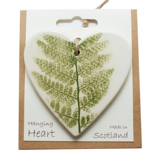 Pressed leaf hanging heart green-2