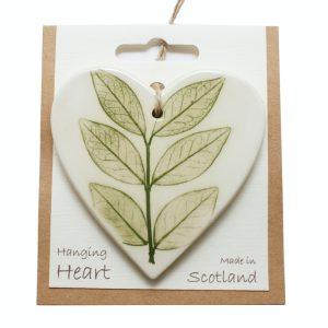 Pressed leaf hanging heart green-3