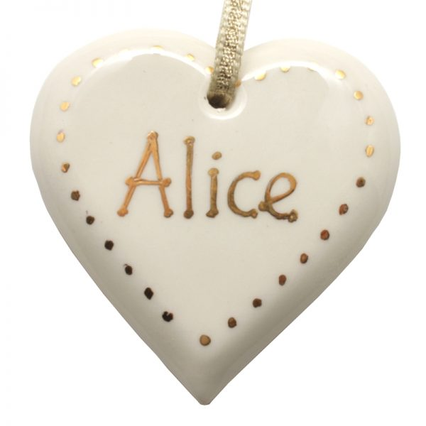Personalised with gold heart decoration.