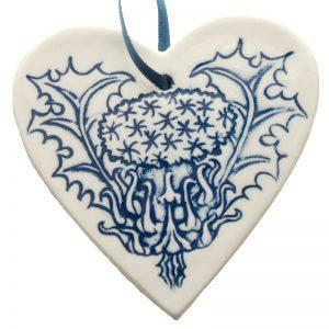 Thistle heart blue