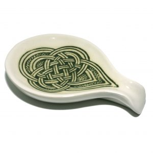 A green Celtic spoon rest.