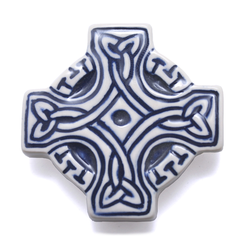 Celtic Fridge magnet - cross - blue