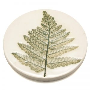 Pressed leaf coaster green